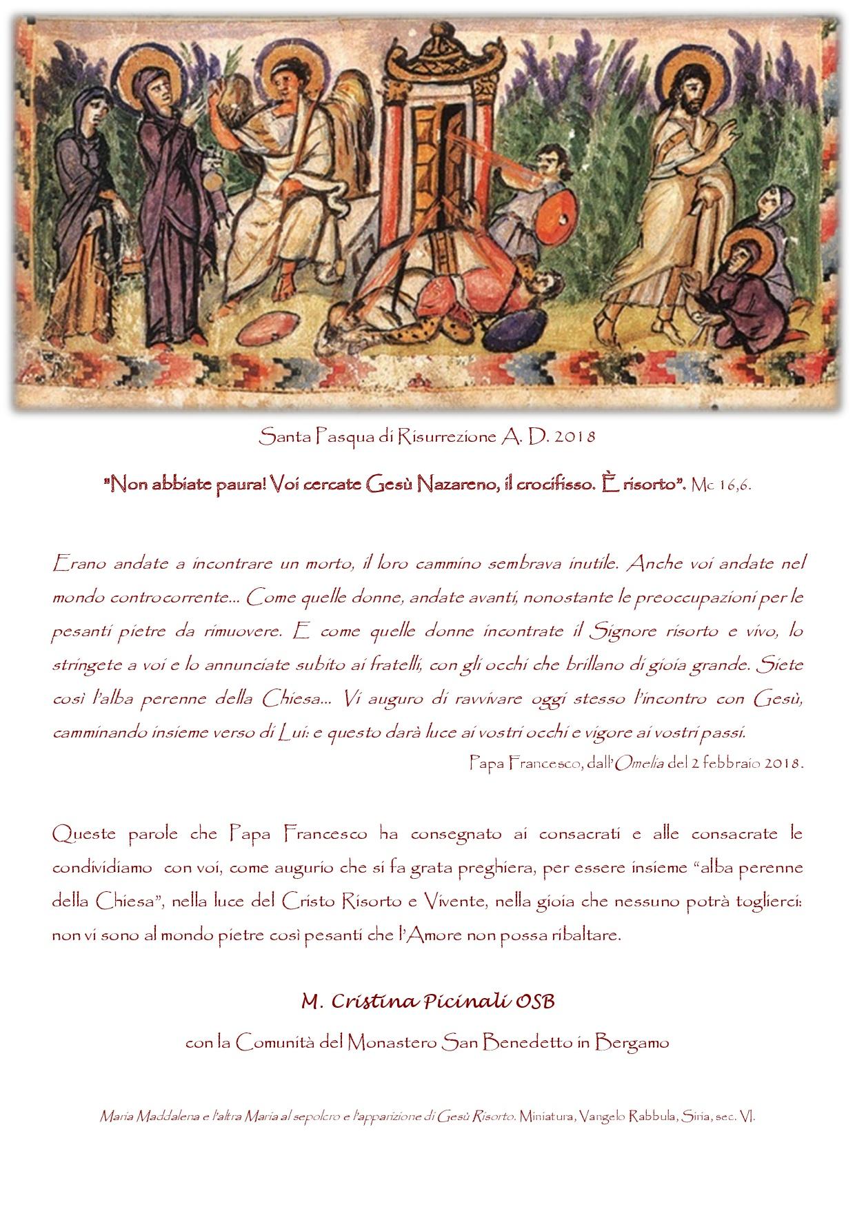 Buona Pasqua dal Monastero di S. Benedetto